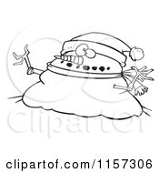 Cartoon Clipart Of A Black And White Chubby Christmas Snowman Wearing A Santa Hat Vector Outlined Coloring Page by toonaday