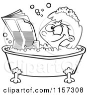 Cartoon Clipart Of A Black And White Happy Girl Reading The Newspaper In A Bath Tub Vector Outlined Coloring Page by toonaday