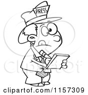 Cartoon Clipart Of A Black And White Reporter Boy Taking Notes Vector Outlined Coloring Page by toonaday