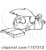 Cartoon Clipart Of A Black And White Boy Reading A Catalog Vector Outlined Coloring Page