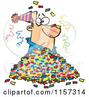 Cartoon Of A Man In A Pile Of Party Confetti Royalty Free Vector Clipart by toonaday