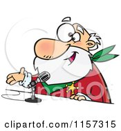 Cartoon Of A CRS Santa Speaking Into A Microphone Royalty Free Vector Clipart by toonaday