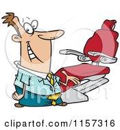 Cartoon Of A Friendly Dentist Man Presenting His Chair Royalty Free Vector Clipart