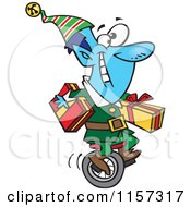 Cartoon Of A Blue Christmas Elf Carrying Gifts On A Unicycle Royalty Free Vector Clipart by toonaday