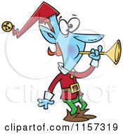 Cartoon Of A Blue Christmas Elf Blowing A Horn Royalty Free Vector Clipart