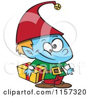 Cartoon Of A Blue Christmas Elf Boy Carrying A Gift Royalty Free Vector Clipart