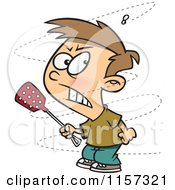 Cartoon Of A Trying To Swat A Pesty Fly Royalty Free Vector Clipart
