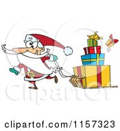 Cartoon Of Santa Pulling Christmas Gifts On A Sled Royalty Free Vector Clipart by toonaday