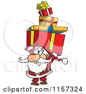 Cartoon Of Santa Holding A Stack Of Christmas Gifts Over His Head Royalty Free Vector Clipart