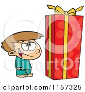Cartoon Of A Boy Standing By A Large Christmas Gift Box Royalty Free Vector Clipart