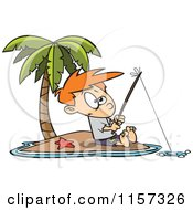 Cartoon Of A Boy Fishing On A Tropical Island Royalty Free Vector Clipart