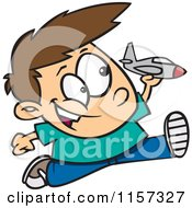 Cartoon Of A Boy Running And Playing With A Toy Jet Royalty Free Vector Clipart