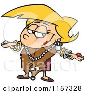 Cartoon Of A Fancy Girl Decked Out In Furs And Jewelery Royalty Free Vector Clipart