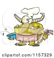 Cartoon Of A Chef Monster Wearing A Kiss The Cook Apron Royalty Free Vector Clipart by Ron Leishman