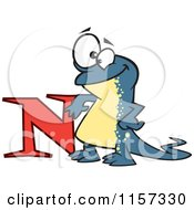 Cartoon Of A Happy Newt Leaning On The Letter N Royalty Free Vector Clipart