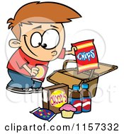 Cartoon Of A Boy Packing Junk Food Into A Picnic Basket Royalty Free Vector Clipart by Ron Leishman