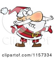 Cartoon Of A Huggable Santa With Open Arms Royalty Free Vector Clipart by toonaday