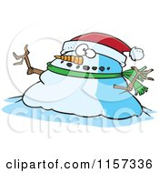 Cartoon Of A Chubby Christmas Snowman Wearing A Santa Hat Royalty Free Vector Clipart