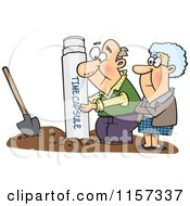 Cartoon Of A Senior Couple Pulling Out Or Burying A Time Capsule Royalty Free Vector Clipart by toonaday
