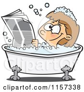 Cartoon Of A Happy Girl Reading The Newspaper In A Bath Tub Royalty Free Vector Clipart