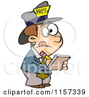 Cartoon Of A Reporter Boy Taking Notes Royalty Free Vector Clipart