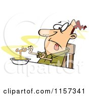 Cartoon Of A Disgusted Man With A Chicken Leg In A Soup Bowl Royalty Free Vector Clipart
