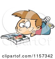 Cartoon Of A Boy Reading A Catalog Royalty Free Vector Clipart by toonaday