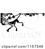 Clipart Of A Retro Vintage Black And White Monkey In A Tree Border Royalty Free Vector Illustration by Prawny Vintage