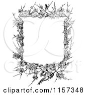 Clipart Of A Retro Vintage Black And White Blossom And Twig Border Royalty Free Vector Illustration