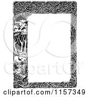 Clipart Of A Retro Vintage Black And White Woodland Trellis And Tree Border Royalty Free Vector Illustration by Prawny Vintage