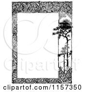 Clipart Of A Retro Vintage Black And White Woodland Trellis And Tree Border 2 Royalty Free Vector Illustration by Prawny Vintage