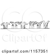 Clipart Of A Retro Vintage Black And White Row Of Feet In The Air Royalty Free Vector Illustration by Prawny Vintage