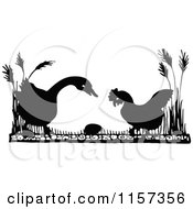 Clipart Of A Silhouetted Goose And Chicken Looking At An Egg Royalty Free Vector Illustration by Prawny Vintage