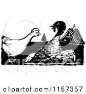 Clipart Of A Retro Vintage Black And White Hen And Turkey Bird Royalty Free Vector Illustration by Prawny Vintage