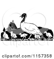 Clipart Of A Retro Vintage Black And White Turkey Bird And Chicks Royalty Free Vector Illustration by Prawny Vintage