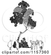 Clipart Of A Retro Vintage Black And White People Under A Tree Royalty Free Vector Illustration by Prawny Vintage