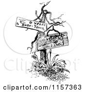 Retro Vintage Black And White Dead Tree With Signs 2