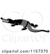 Clipart Of A Silhouetted Crocodile Royalty Free Vector Illustration by Prawny Vintage
