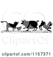 Clipart Of A Silhouetted Cat Chick Pig And Dog Royalty Free Vector Illustration by Prawny Vintage