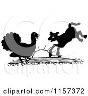 Clipart Of A Silhouetted Turkey And Lamb Royalty Free Vector Illustration by Prawny Vintage