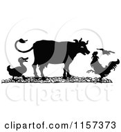 Clipart Of A Silhouetted Duck Cow And Rooster Royalty Free Vector Illustration by Prawny Vintage