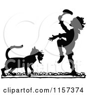 Clipart Of A Silhouetted Cat Bringing A Boy A Kitten Royalty Free Vector Illustration by Prawny Vintage