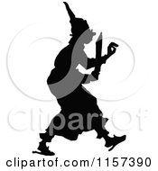 Clipart Of A Silhouetted Frightened Man In His Pajamas Royalty Free Vector Illustration