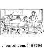 Retro Vintage Black And White Group Of Children Studying