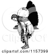 Clipart Of A Retro Vintage Black And White Traveling Vagrant Man Royalty Free Vector Illustration