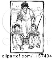 Retro Vintage Black And White Dutch Father And Children Going Fishing