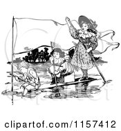 Clipart Of Retro Vintage Black And White Children On A Makeshift Boat With A Banner Royalty Free Vector Illustration by Prawny Vintage