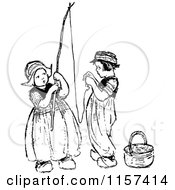 Clipart Of Retro Vintage Black And White Dutch Children Stringing A Fishing Pole Royalty Free Vector Illustration by Prawny Vintage
