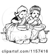 Clipart Of Retro Vintage Black And White Dutch Children Eating Royalty Free Vector Illustration
