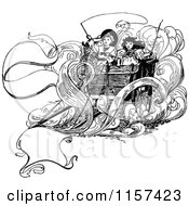 Clipart Of A Retro Vintage Black And White Children On A Carriage Royalty Free Vector Illustration